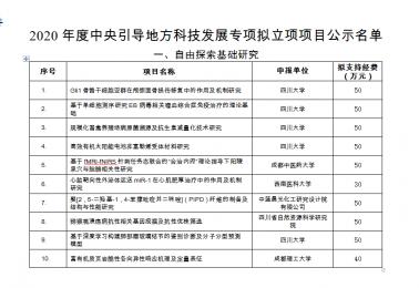 王沛坚副教授申报的自由探索基础研究项目获四川省科学技术厅/四川省财政厅2020年度中央引导地方科技发展专项资助